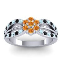 Simple Floral Pave Kalikda Citrine Ring with Black Onyx and Aquamarine in 14k White Gold
