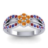 Simple Floral Pave Kalikda Citrine Ring with Blue Sapphire and Ruby in 18k White Gold