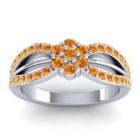 Simple Floral Pave Kalikda Citrine Ring in 14k White Gold