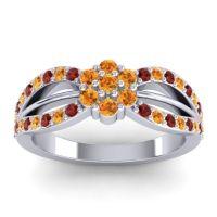 Simple Floral Pave Kalikda Citrine Ring with Garnet in Palladium