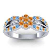 Simple Floral Pave Kalikda Citrine Ring with Swiss Blue Topaz in 14k White Gold