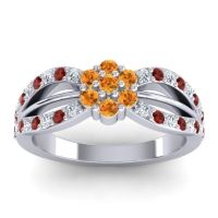 Simple Floral Pave Kalikda Citrine Ring with Garnet and Diamond in 14k White Gold