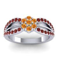 Simple Floral Pave Kalikda Citrine Ring with Garnet in 14k White Gold