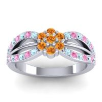 Simple Floral Pave Kalikda Citrine Ring with Pink Tourmaline and Aquamarine in 18k White Gold
