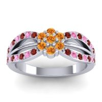 Simple Floral Pave Kalikda Citrine Ring with Pink Tourmaline and Garnet in 14k White Gold