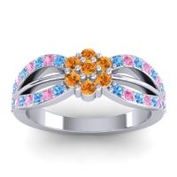 Simple Floral Pave Kalikda Citrine Ring with Pink Tourmaline and Swiss Blue Topaz in Palladium