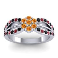 Simple Floral Pave Kalikda Citrine Ring with Ruby and Black Onyx in Palladium