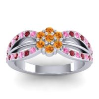 Simple Floral Pave Kalikda Citrine Ring with Ruby and Pink Tourmaline in 14k White Gold