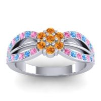Simple Floral Pave Kalikda Citrine Ring with Swiss Blue Topaz and Pink Tourmaline in 18k White Gold