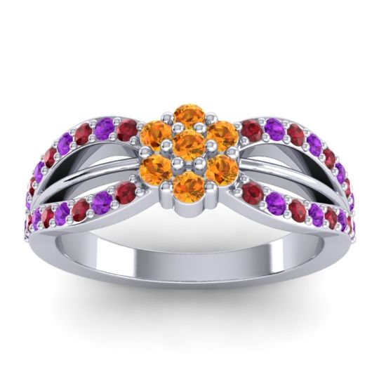 Simple Floral Pave Kalikda Citrine Ring with Amethyst and Ruby in Palladium