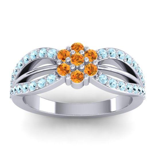 Simple Floral Pave Kalikda Citrine Ring with Aquamarine in Palladium