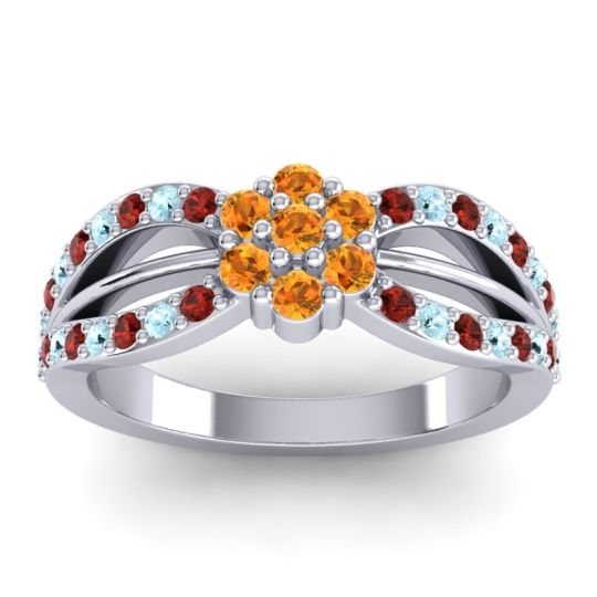 Simple Floral Pave Kalikda Citrine Ring with Aquamarine and Garnet in Platinum
