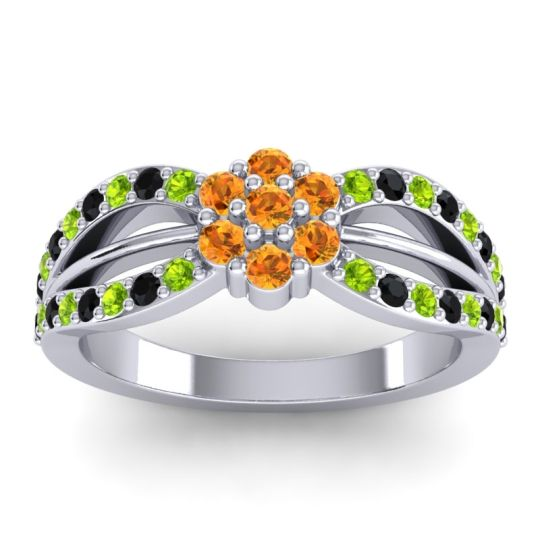 Simple Floral Pave Kalikda Citrine Ring with Black Onyx and Peridot in Platinum