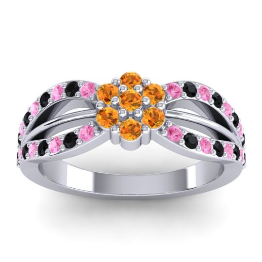 Simple Floral Pave Kalikda Citrine Ring with Black Onyx and Pink Tourmaline in 14k White Gold