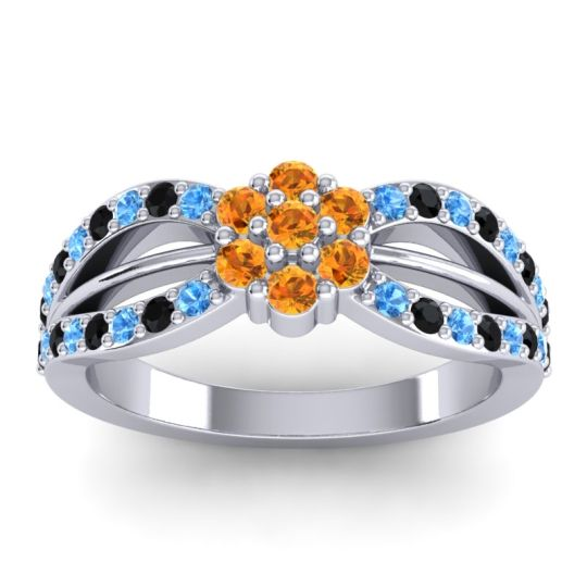 Simple Floral Pave Kalikda Citrine Ring with Black Onyx and Swiss Blue Topaz in 18k White Gold