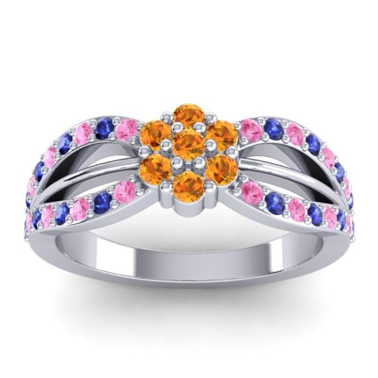 Simple Floral Pave Kalikda Citrine Ring with Blue Sapphire and Pink Tourmaline in 14k White Gold
