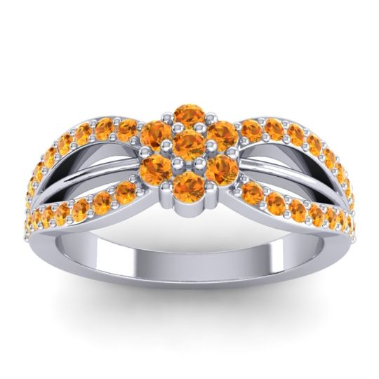 Simple Floral Pave Kalikda Citrine Ring in Platinum