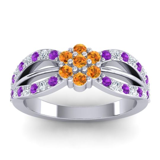 Simple Floral Pave Kalikda Citrine Ring with Diamond and Amethyst in Platinum