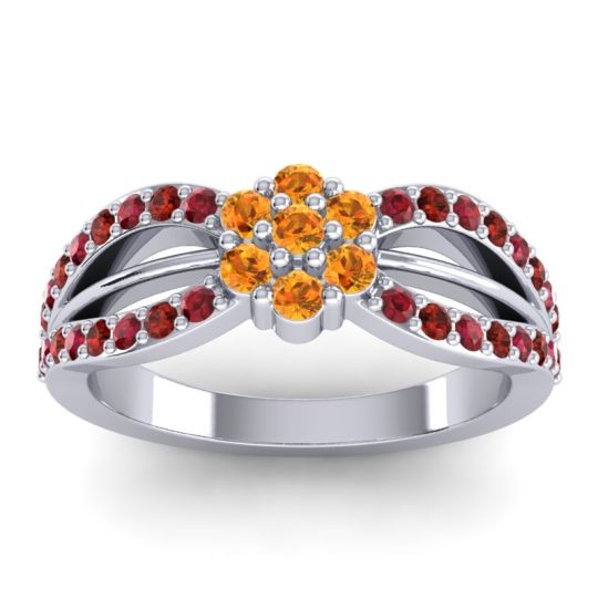 Simple Floral Pave Kalikda Citrine Ring with Garnet and Ruby in 14k White Gold