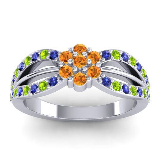Simple Floral Pave Kalikda Citrine Ring with Peridot and Blue Sapphire in 14k White Gold