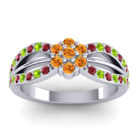Simple Floral Pave Kalikda Citrine Ring with Peridot and Ruby in 14k White Gold