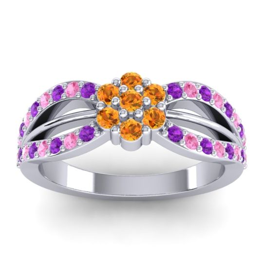 Simple Floral Pave Kalikda Citrine Ring with Pink Tourmaline and Amethyst in Platinum