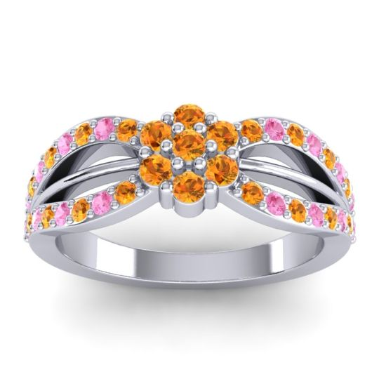 Simple Floral Pave Kalikda Citrine Ring with Pink Tourmaline in Platinum