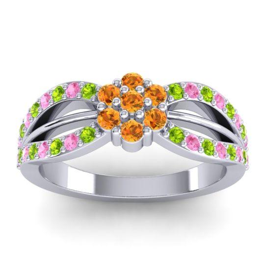 Simple Floral Pave Kalikda Citrine Ring with Pink Tourmaline and Peridot in Palladium
