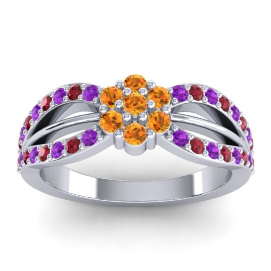 Simple Floral Pave Kalikda Citrine Ring with Ruby and Amethyst in 18k White Gold