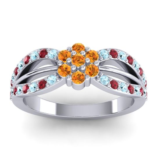Simple Floral Pave Kalikda Citrine Ring with Ruby and Aquamarine in 14k White Gold