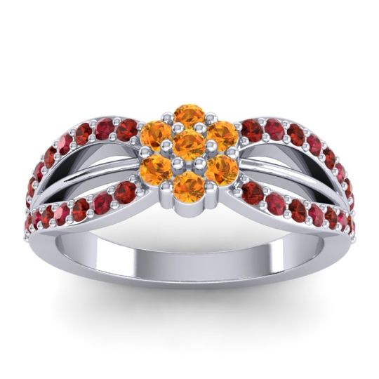 Simple Floral Pave Kalikda Citrine Ring with Ruby and Garnet in Platinum