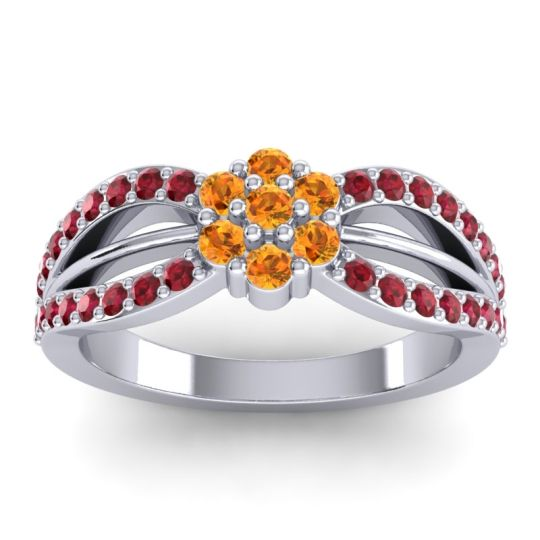 Simple Floral Pave Kalikda Citrine Ring with Ruby in 14k White Gold