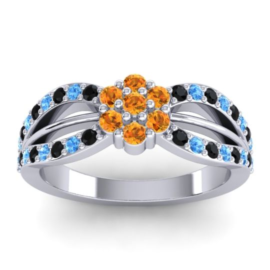Simple Floral Pave Kalikda Citrine Ring with Swiss Blue Topaz and Black Onyx in 18k White Gold