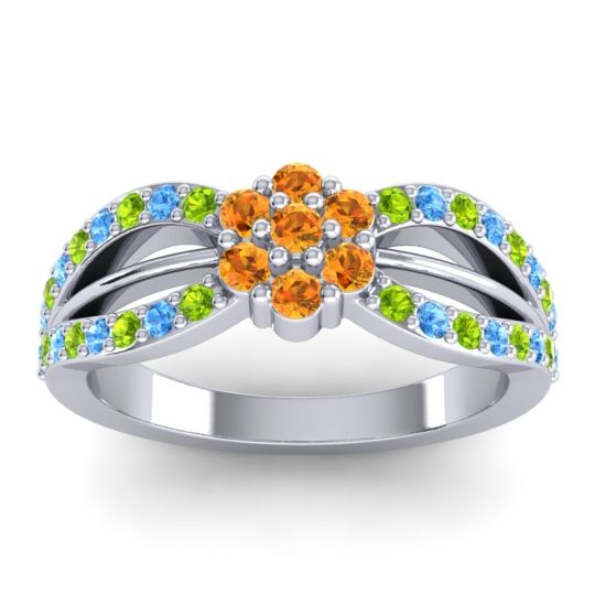 Simple Floral Pave Kalikda Citrine Ring with Swiss Blue Topaz and Peridot in 18k White Gold