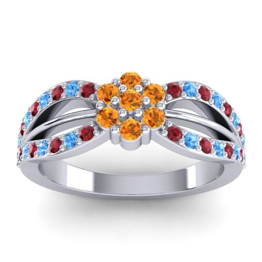 Simple Floral Pave Kalikda Citrine Ring with Swiss Blue Topaz and Ruby in 18k White Gold