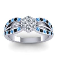 Simple Floral Pave Kalikda Diamond Ring with Black Onyx and Swiss Blue Topaz in 14k White Gold