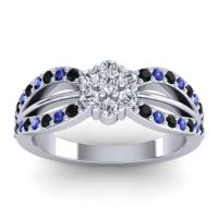 Simple Floral Pave Kalikda Diamond Ring with Blue Sapphire and Black Onyx in Platinum