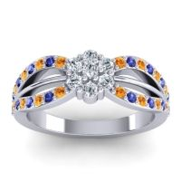 Simple Floral Pave Kalikda Diamond Ring with Blue Sapphire and Citrine in Platinum
