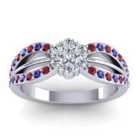 Simple Floral Pave Kalikda Diamond Ring with Blue Sapphire and Ruby in 18k White Gold
