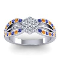 Simple Floral Pave Kalikda Diamond Ring with Citrine and Blue Sapphire in Palladium