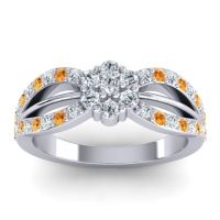 Simple Floral Pave Kalikda Diamond Ring with Citrine in 14k White Gold