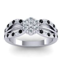 Simple Floral Pave Kalikda Diamond Ring with Black Onyx in Platinum
