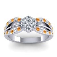 Simple Floral Pave Kalikda Diamond Ring with Citrine in Palladium