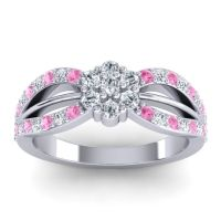 Simple Floral Pave Kalikda Diamond Ring with Pink Tourmaline in Platinum