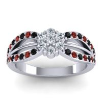 Simple Floral Pave Kalikda Diamond Ring with Garnet and Black Onyx in Platinum