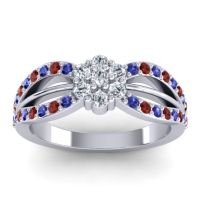 Simple Floral Pave Kalikda Diamond Ring with Garnet and Blue Sapphire in 14k White Gold