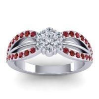 Simple Floral Pave Kalikda Diamond Ring with Garnet and Ruby in Palladium