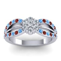 Simple Floral Pave Kalikda Diamond Ring with Garnet and Swiss Blue Topaz in Palladium