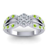 Simple Floral Pave Kalikda Diamond Ring with Peridot in Platinum