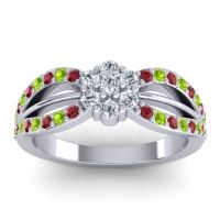Simple Floral Pave Kalikda Diamond Ring with Peridot and Ruby in Platinum